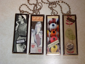 the length of the chain is customizable at the art show.  Keychains, fobs, neckwear, etc etc etc