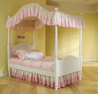and this is what my childhood bed looked like.  No hardwood floors though, I had pink SHAG carpeting!!!